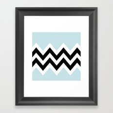 LIGHT BLUE COLORBLOCK CHEVRON Framed Art Print