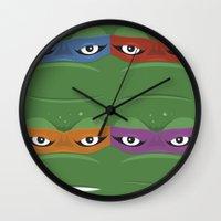 teenage mutant ninja turtles Wall Clocks featuring Teenage Mutant Ninja Turtles - TMNT by Alex Patterson AKA frigopie76