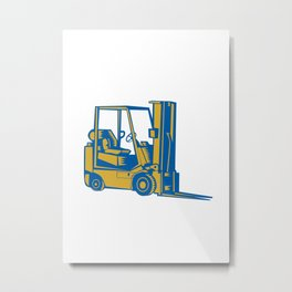 Forklift Truck Side Woodcut Metal Print