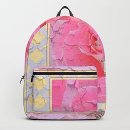 SHABBY CHIC PALE PINK  GARDEN ROSE PATTERN PINK ABSTRACT Backpack
