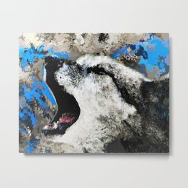 Blue Wolf Watercolor (Color) Metal Print