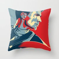 avenger Throw Pillows featuring The First Avenger by Olivia Desianti