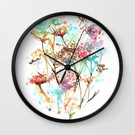 Queen Anne Lace Wild Flower Print Wall Clock