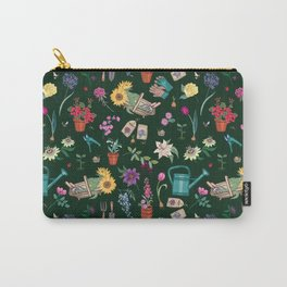 Grow Flowers Gardening Pattern on Dark Carry-All Pouch