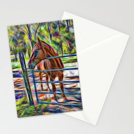 Abstract horse standing at gate Stationery Cards