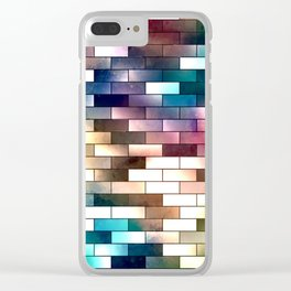Colorful brick wall background Clear iPhone Case