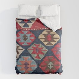 Red Band Diamond Kilim // 19th Century Colorful Brown Cream Peach Navy Blue Ornate Accent Pattern Comforters