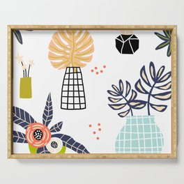 Mid-Century Modern Flowers and Leaves Print Serving Tray