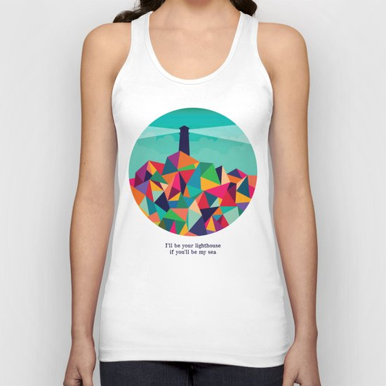 I'll be your lighthouse if you'll be my sea Unisex Tank Top