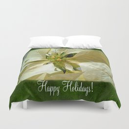 Pale Yellow Poinsettia 1 Happy Holidays P1F1 Duvet Cover