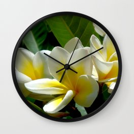 White summer Flowers by Lika Ramati Wall Clock