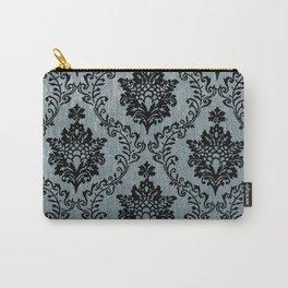 Teal black damask pattern, art nouveau pattern, victorian pattern, vintage pattern, elegant,chic,bea Carry-All Pouch