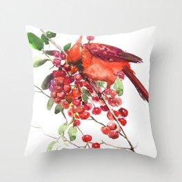 Cardinal Bird and Berries, red green Christmas colors artwork design Cardinal lover Throw Pillow