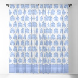 BLUE PEACOCK AND STRIPES Sheer Curtain