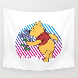 pooh love flower Wall Tapestry