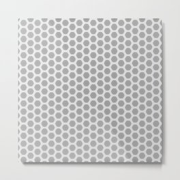 Honeycomb Grey and White Pattern Metal Print
