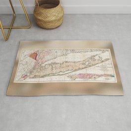 Long Island New York 1842 Mather Map Rug