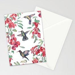 hummingbird with ceibo tree flowers Stationery Cards