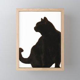 Halloween Black Cat Silhouette  Framed Mini Art Print