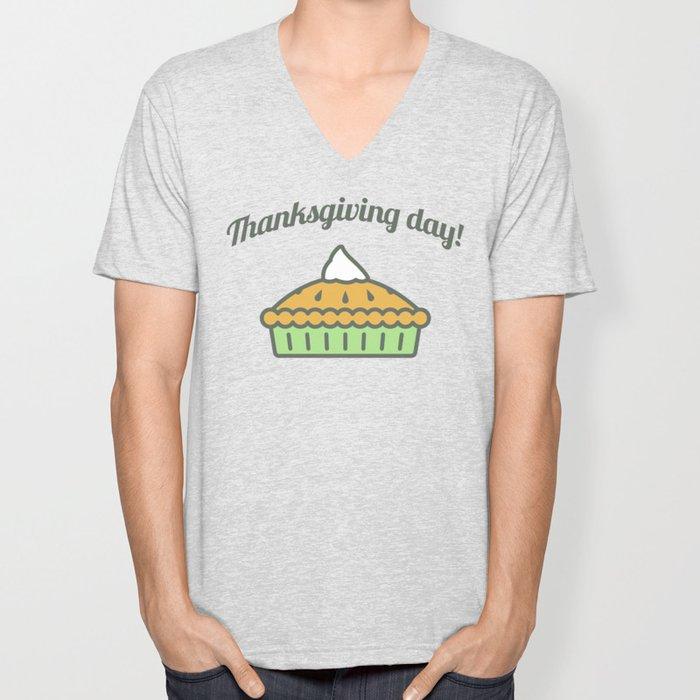 Happy Thanksgiving Day Pie Design Unisex V-Neck