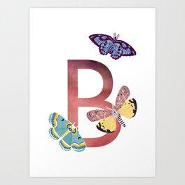 B - Butterfly Art Print