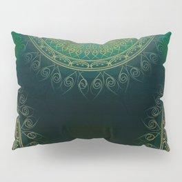 """Dark Clover Green & Gold Mandala Deluxe"" Pillow Sham"
