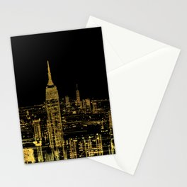 Abstract Gold City  Skyline Design Stationery Cards