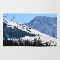skiing Area & Throw Rugs featuring Back-Country Skiing  - I by Alaskan Momma Bear