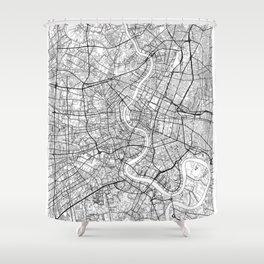 Bangkok Map White Shower Curtain