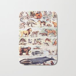 Vintage Antique Wildlife Encyclopedia Print Bath Mat