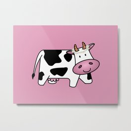 Standing Cow with Daisies Metal Print