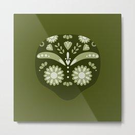 Green Sugar Skull Metal Print