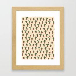 Cute Cactus Pattern Framed Art Print
