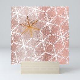 Elegant Geometric Gold Snowflakes Holiday Pattern Mini Art Print