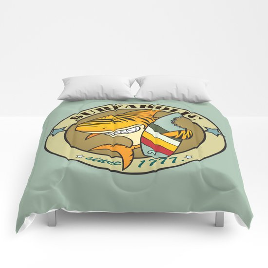 Surfaholic tiger shark Comforters
