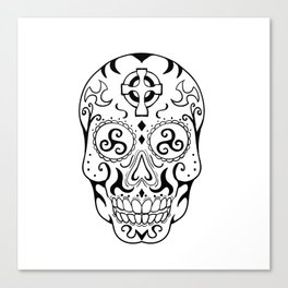 Mexican Skull Triskele Celtic Cross Tattoo Canvas Print