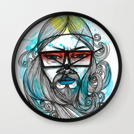 A Man with Shades and Beard Wall Clock