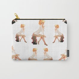 Bookish Pattern Retro Pinup Girl Carry-All Pouch