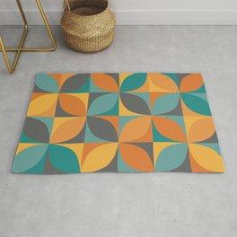 Retro geometric pattern in 1960s colors Rug