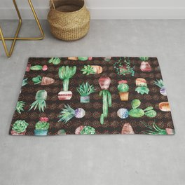 Watercolor seamless pattern with succulents and cactus in the pots on the dark background Rug