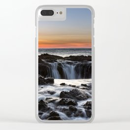Thor's Well Sunset at Cape Perpetua, Oregon Clear iPhone Case