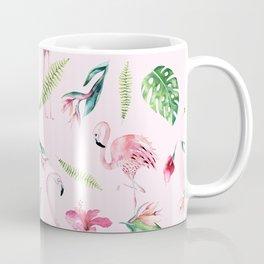 Blush pink green watercolor monster leaves flamingos pattern Coffee Mug