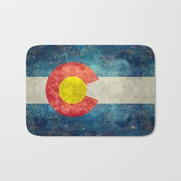 Colorado State Flag in Vintage Grunge Bath Mat