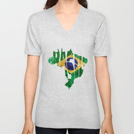 Brasil Typographic World Map / Brasil Typography Flag Map Art Unisex V-Neck