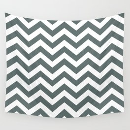 Chevron Zig Zag Pattern: Steel Grey Wall Tapestry