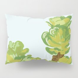 Portylacaria Afra Succulent Blue and Green Pillow Sham