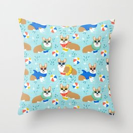 Corgi Pool Party Summer corgi pattern beach pall summer corgi costume cute dog design Throw Pillow