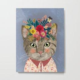 Grey cat with flower crown Metal Print
