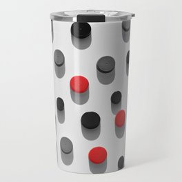 Plastic bottle caps background with black and red color pattern Travel Mug