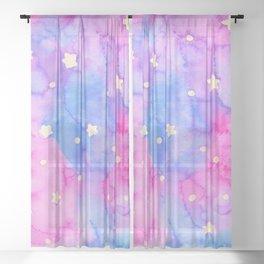 Starry Night Pink & Purple Sheer Curtain